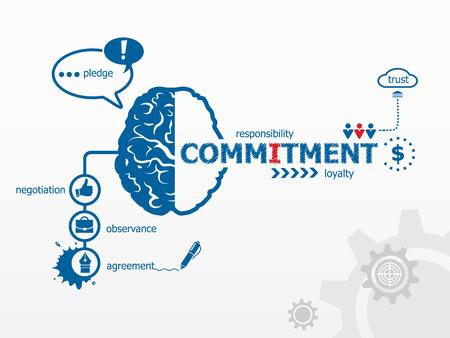 compromiso: Concepto de Compromiso para la eficiencia, la creatividad, la inteligencia. Escritura de la mano Compromiso con marcador azul Vectores