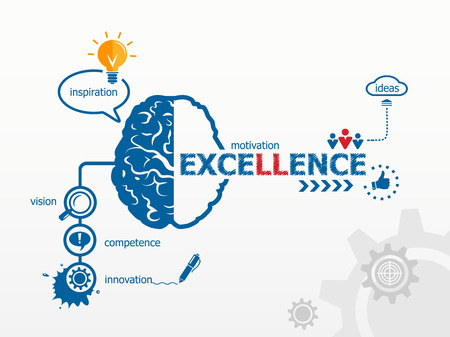 Excellence. Hand writing Excellence with blue marker Çizim