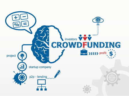 funding: Crowdfunding concept. Сrowd funding or sourcefunding public money raising for a project Illustration