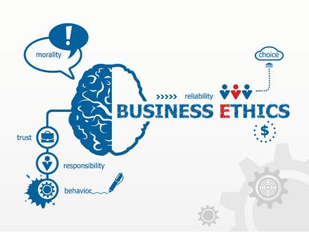 etica: Concepto de ética en los negocios. Vectores