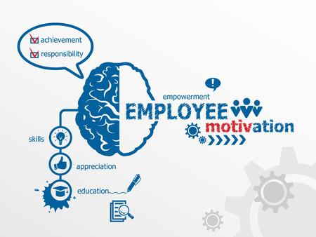 empleados trabajando: Concepto de motivaci�n de los empleados. Vectores