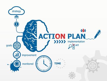 plan de accion: Concepto de Plan de Acci�n. Plan de Escritura de la mano de Acci�n con marcador azul Vectores
