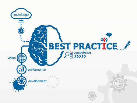 Best practice concept. Hand writing Best practice with blue marker Vectores