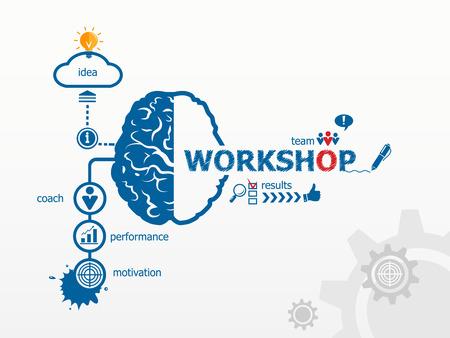 workshop seminar: Workshop concept. Hand writing Workshop with blue marker