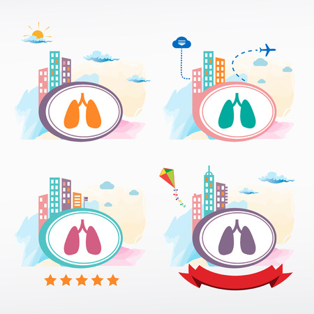 pulmones: Human organs. Lungs. Cityscape color illustration set. Illustration