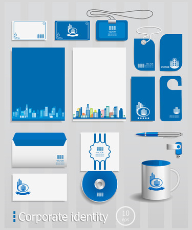 Business cards collection with City concept design. Ultimate vector set of printing materials template for branding identity. Illustration