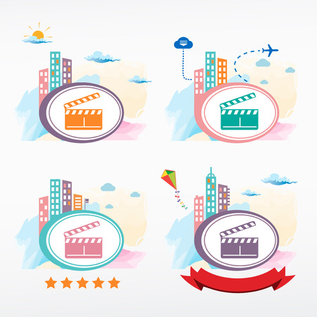 city background: Vector clapper boards icon on city background. Cityscape illustration set.
