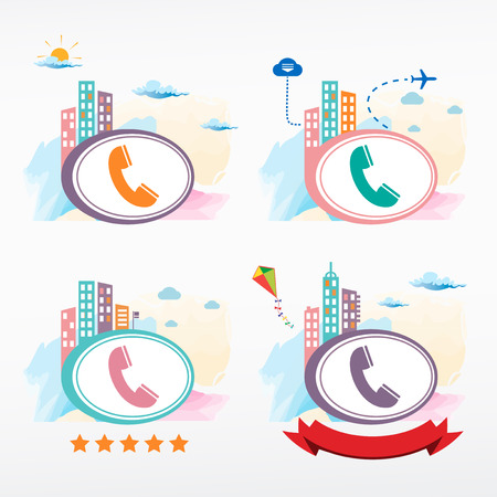 telephone receiver: Telephone receiver vector icon city background. Cityscape illustration set.