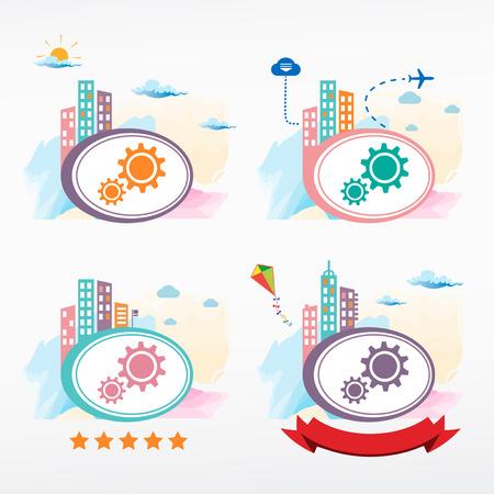 rackwheel: Gear icon on city background. Cityscape color illustration set.