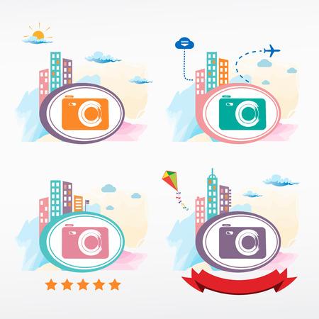 tape marker: Photo camera icon on city background. Cityscape color illustration set.