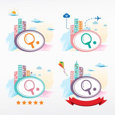 ping pong: Ping pong paddle icon city background. Cityscape illustration set. Illustration