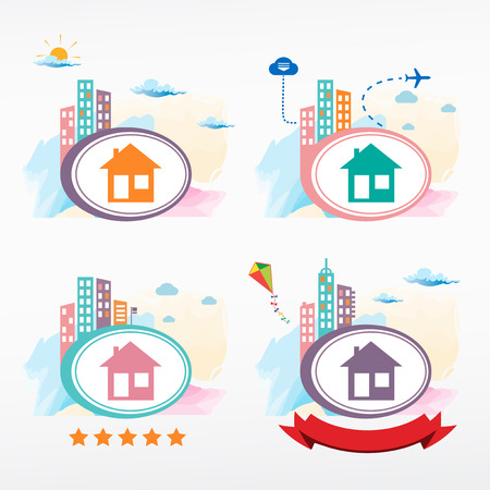 realstate: Illustration of home icons. Cityscape color illustration set. Illustration