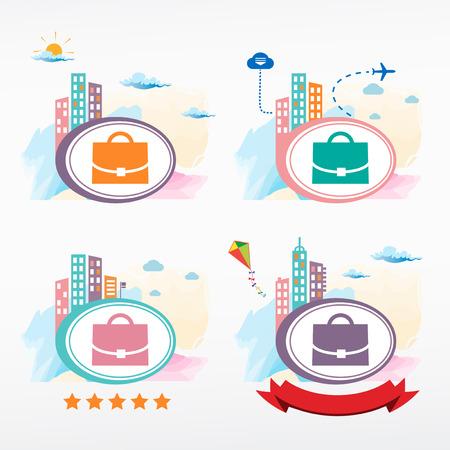 tape marker: Case icon on city background. Cityscape color illustration set. Illustration