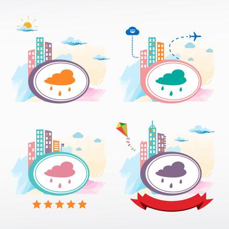 drench: Rain cloud icon city background. Cityscape color illustration set.