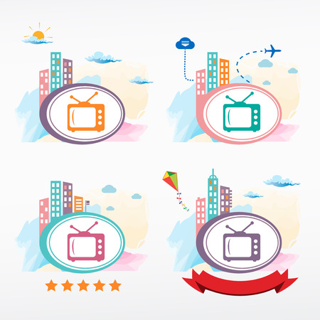 kinescope: TV vector icon on city background. Cityscape color illustration set.