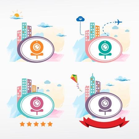 webcam: Webcam icon on city background. Cityscape color illustration set. Illustration