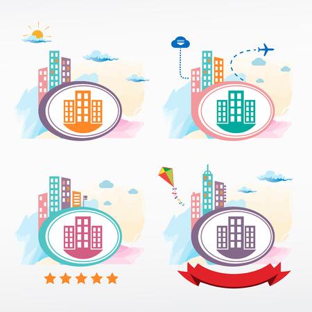 City vector icon. Cityscape color illustration set. Illustration
