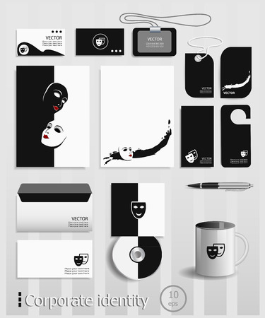 comedy: Business cards collection with comedy and tragedy theatrical masks concept design. Template for branding identity.