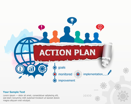 action plan: Action Plan concept and group of people. Set of flat design illustration concepts for business, consulting, finance, management, career, human resources. Illustration