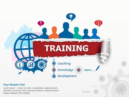 capacitacion: Concepto de Formación y grupo de personas. Conjunto de planos conceptos de diseño de ilustración para negocios, consultoría, finanzas, administración, carrera, recursos humanos.