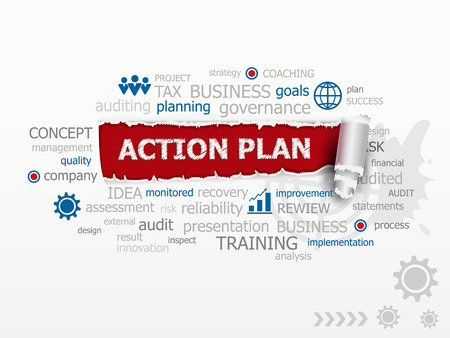 action plan: Action plan word cloud. Design illustration concepts for business consulting finance management career. Illustration