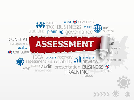 findings: Assessment word cloud. Design illustration concepts for business consulting finance management career. Illustration