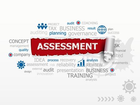 Assessment word cloud. Design illustration concepts for business consulting finance management career. Illustration