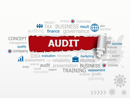 validity: Word Cloud Audit concept. esign illustration concepts for business consulting finance management career. Illustration