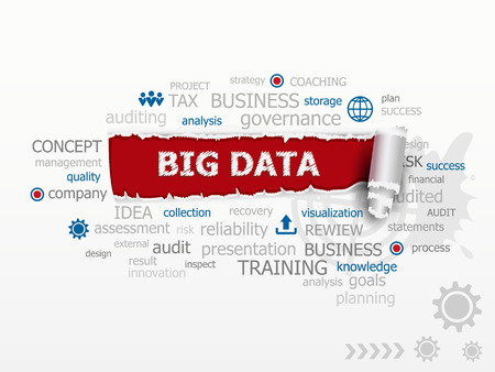 A word cloud of big data.  Design illustration concepts for business consulting finance management career. Иллюстрация