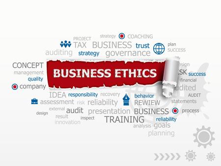 �thique: L'�thique des affaires et les lignes directrices comme un dessin illustration concepts pour la carri�re de la gestion des finances de conseil aux entreprises.