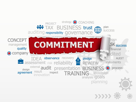 obligate: Commitment word cloud. Design illustration concepts for business, consulting, finance, management, career. Illustration