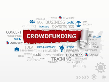 initiator: Crowdfunding word cloud concept. Design illustration concepts for business, consulting, finance, management, career. Illustration