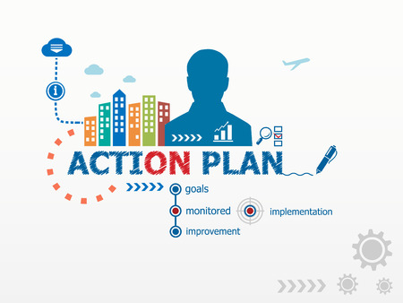 action plan: Action Plan concept and business man. Flat design illustration for business, consulting, finance, management, career.
