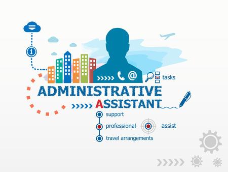 Administratief medewerker concept en de zakenman. Platte ontwerp illustratie voor het bedrijfsleven, consulting, financiën, management, carrière. Stock Illustratie