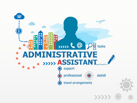 assistant: Administrative assistant concept and business man. Flat design illustration for business, consulting, finance, management, career.