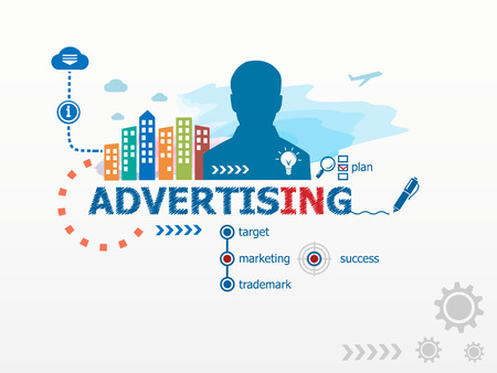 business value: Advertising concept and business man. Flat design illustration for business, consulting, finance, management, career.