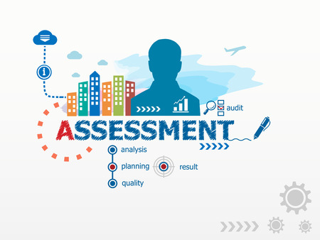 assessment system: Assessment concept and business man. Flat design illustration for business, consulting, finance, management, career. Illustration