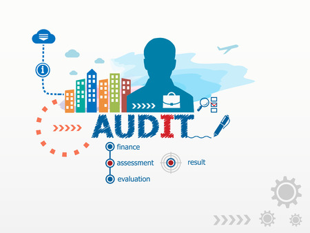 examining: Audit concept and business man. Flat design illustration for business, consulting, finance, management, career.
