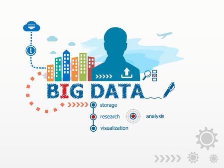Big Data concept en de zakenman. Platte ontwerp illustratie voor het bedrijfsleven, consulting, financiën, management, carrière. Stockfoto - 42280991