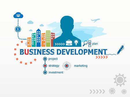 비즈니스 개념 및 비즈니스 사람입니다. 비즈니스, 컨설팅, 금융, 관리, 경력에 대 한 평면 디자인 일러스트 레이 션.