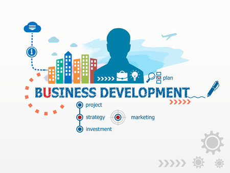 Concept de développement des affaires et homme d'affaires. Appartement illustration de conception pour les affaires, conseil, finance, gestion, carrière.