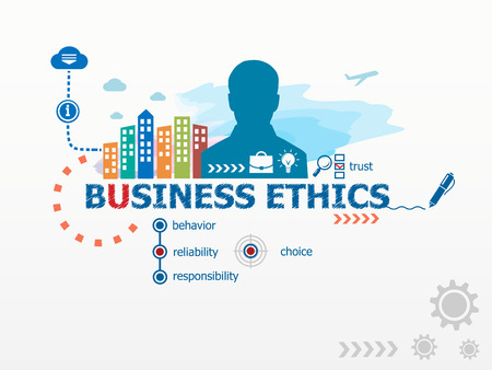 business ethics: Business Ethics concept and business man. Flat design illustration for business, consulting, finance, management, career.