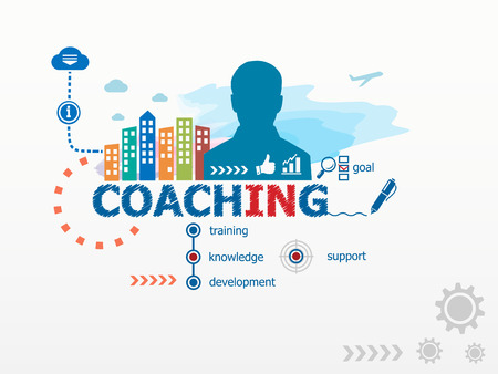 Coaching concept and business man. Flat design illustration for business, consulting, finance, management, career. Иллюстрация
