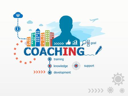 Coaching concept en de zakenman. Platte ontwerp illustratie voor het bedrijfsleven, consulting, financiën, management, carrière. Stockfoto - 42551725