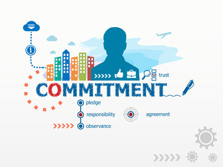 observance: Commitment concept and business man. Flat design illustration for business, consulting, finance, management, career.