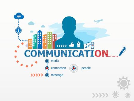 business communication: Communication concept and business man. Flat design illustration for business, consulting, finance, management, career. Illustration