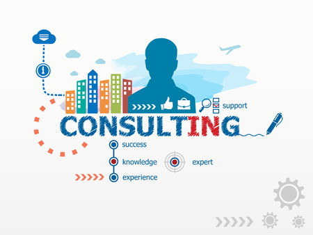 consultant: Consulting concept and business man. Flat design illustration for business, consulting, finance, management, career. Illustration