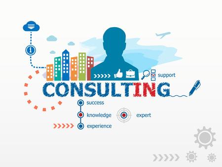 Consultoría concepto y hombre de negocios. Ilustración Diseño plano para los negocios, consultoría, finanzas, administración, carrera.