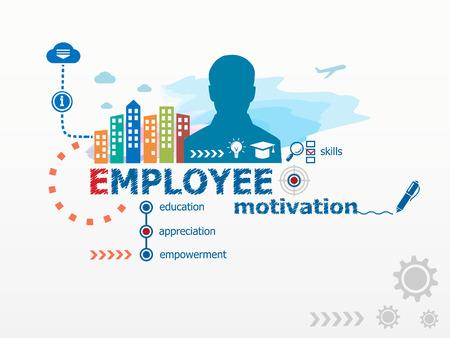 De motivatie van werknemers concept en de zakenman. Platte ontwerp illustratie voor het bedrijfsleven, consulting, financiën, management, carrière. Stockfoto - 42551888