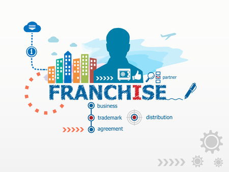Franchise concept and business man. Flat design illustration for business, consulting, finance, management, career. Illustration